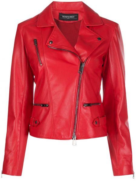Красная куртка байкерская на молнии Simonetta Ravizza