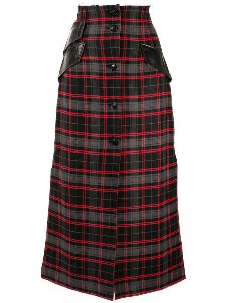 С завышенной талией юбка миди с разрезом в рубчик на пуговицах Yang Li