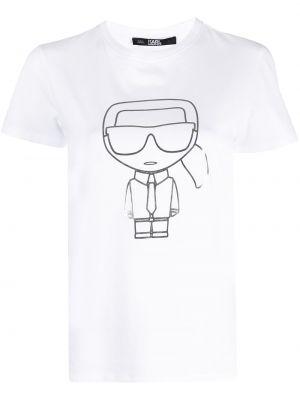 Хлопковая белая футболка с короткими рукавами Karl Lagerfeld