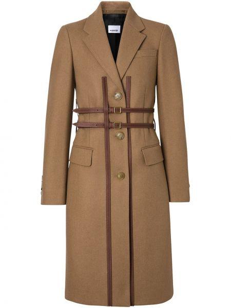 Коричневое шерстяное кожаное пальто с капюшоном Burberry