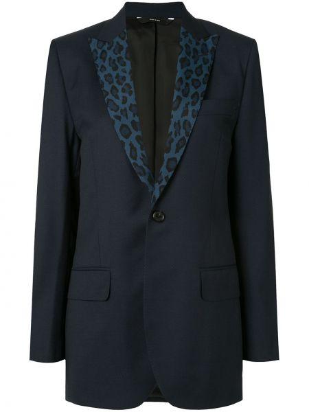 Шерстяной синий пиджак с карманами R13