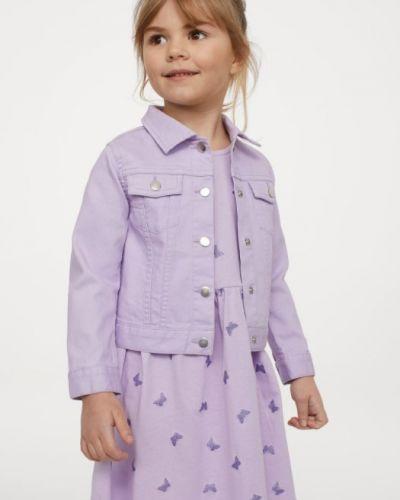 Фиолетовая джинсовая куртка с воротником на кнопках H&m