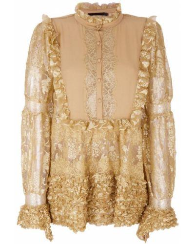 Блузка с длинным рукавом кружевная с рюшами Amen.