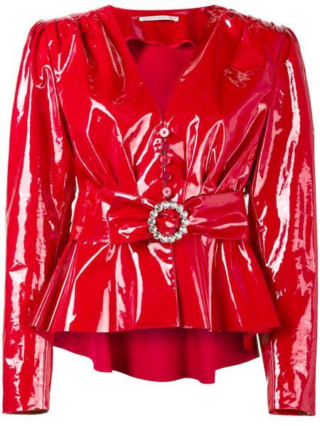 Хлопковая красная куртка с поясом Alessandra Rich