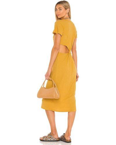 Кожаное платье-рубашка для полных золотое Lna