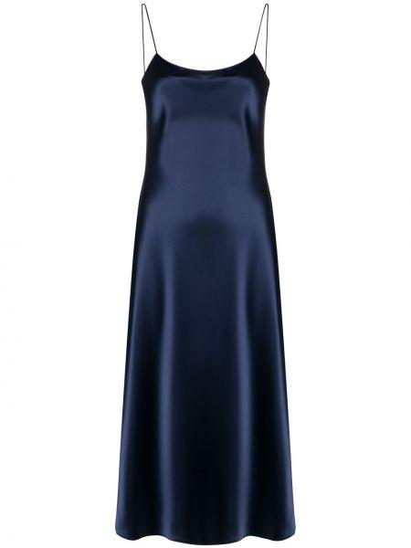 Синее тонкое платье с открытой спиной на бретелях Theory