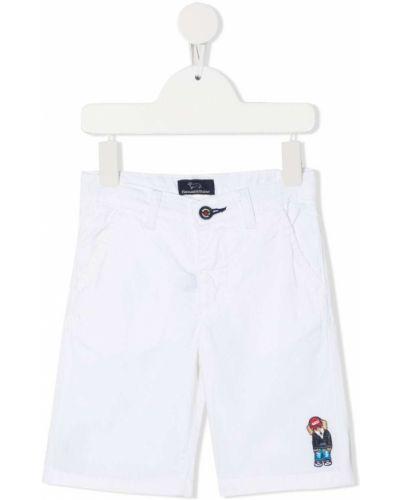 Хлопковые белые шорты с поясом до середины колена Harmont & Blaine Junior
