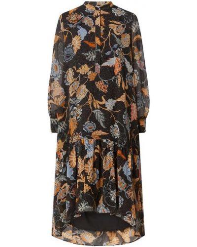 Czarna sukienka midi z szyfonu Jake*s Collection