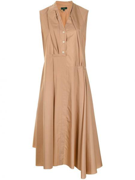Коричневое теплое платье миди без рукавов Jejia