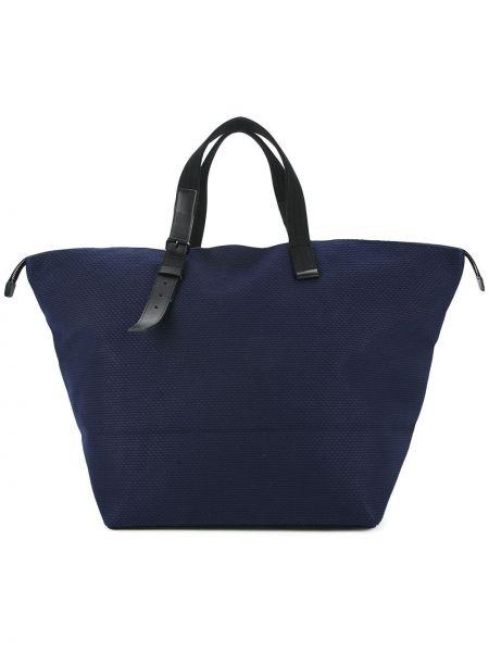 Синяя кожаная сумка Cabas