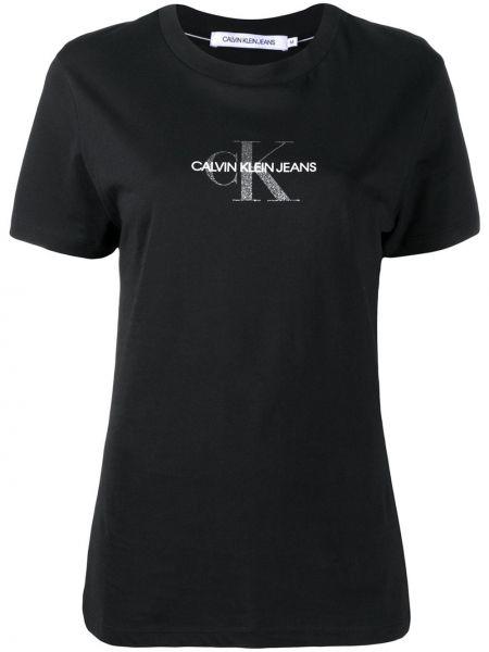Bawełna bawełna czarny koszula jeansowa krótkie rękawy Calvin Klein Jeans