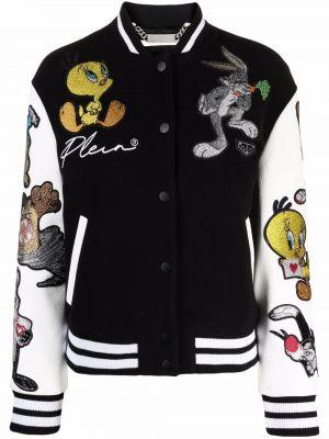Кожаная куртка на пуговицах - черная Philipp Plein