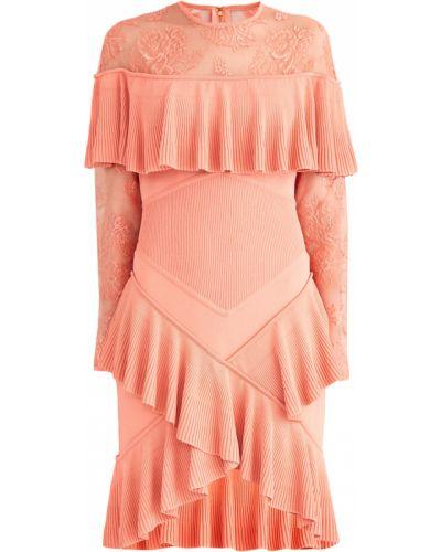 Платье мини с цветочным принтом в рубчик Elie Saab