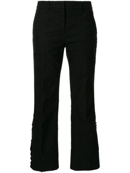 Spodnie z wysokim stanem czarne z kieszeniami N°21