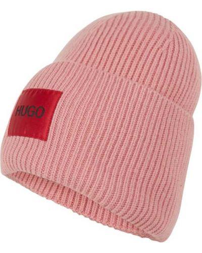 Prążkowana różowa czapka wełniana Hugo