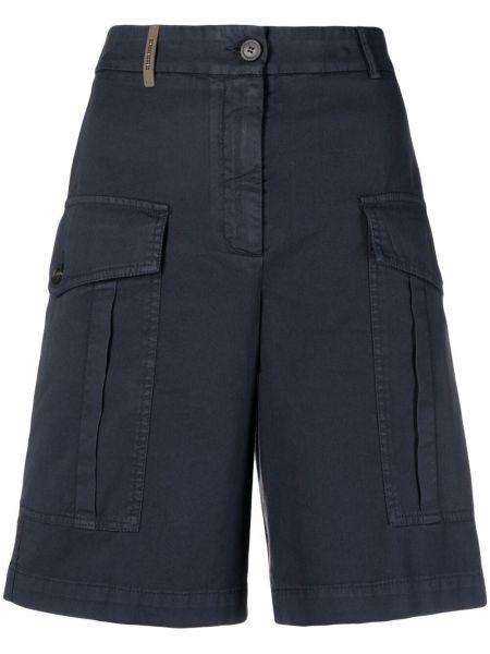Синие хлопковые шорты карго на молнии Peserico