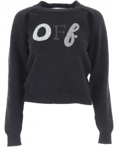 Czarny długi sweter bawełniany z długimi rękawami Off-white C/o Virgil Abloh