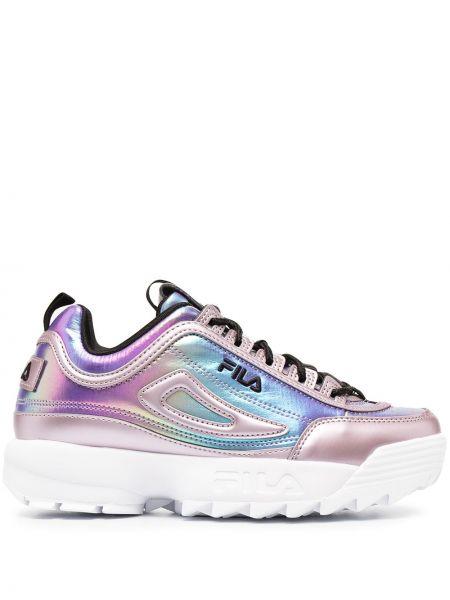 Фиолетовые текстильные высокие кроссовки на шнурках Fila