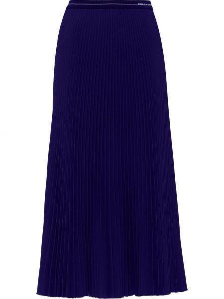 Плиссированная синяя юбка миди с поясом Prada