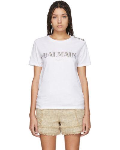 Рубашка с коротким рукавом с принтом без воротника Balmain