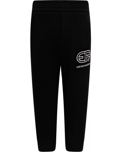 Хлопковые черные спортивные брюки Armani Junior