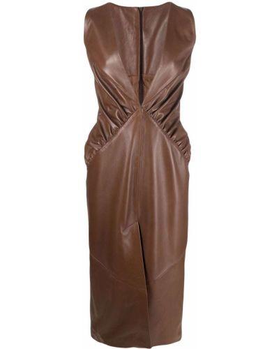 Коричневое платье с разрезом Manokhi