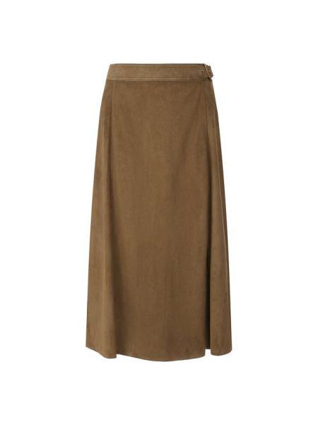 Замшевая юбка миди с запахом в рубчик с пряжкой Ralph Lauren