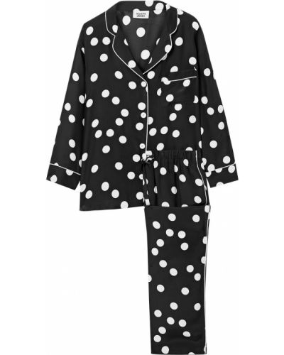 Черная шелковая пижама с карманами Sleepy Jones