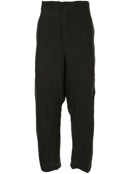 Черные укороченные брюки свободного кроя с поясом пэчворк Forme D'expression