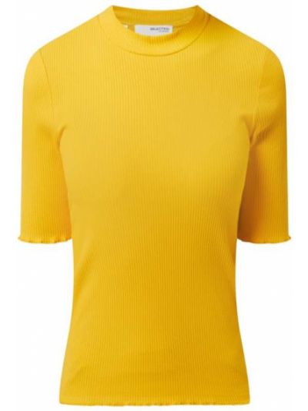Prążkowany żółty t-shirt bawełniany Selected Femme
