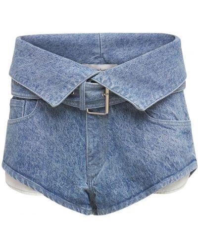Синие хлопковые джинсовые шорты с карманами Marques'almeida