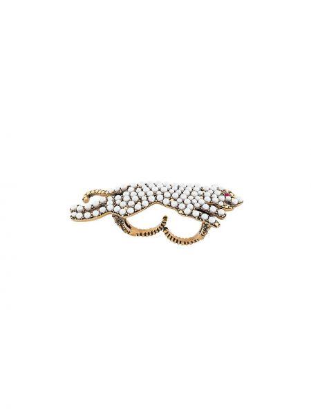 Pierścień z ozdobnym wykończeniem biały Gucci