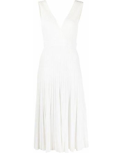 Трикотажное белое платье в рубчик P.a.r.o.s.h.