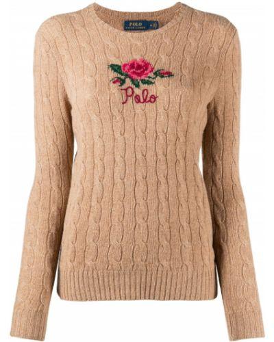 Z rękawami brązowy koszulka polo okrągły dekolt z haftem Polo Ralph Lauren
