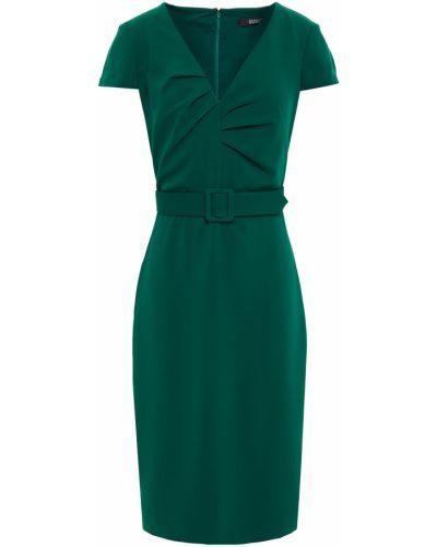 Плиссированное зеленое платье с поясом Badgley Mischka
