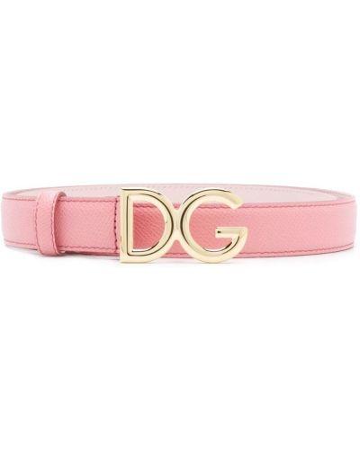 Тонкий ремень с пряжкой розовый Dolce & Gabbana