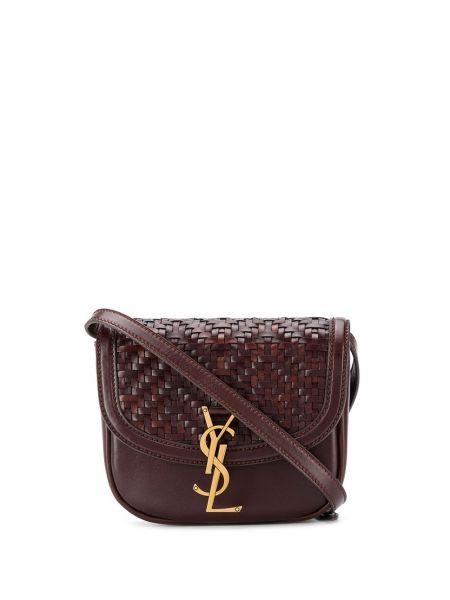 С ремешком коричневый кожаный сумка на плечо Saint Laurent