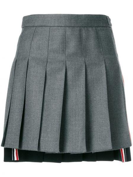 Шерстяная синяя асимметричная с завышенной талией юбка мини Thom Browne
