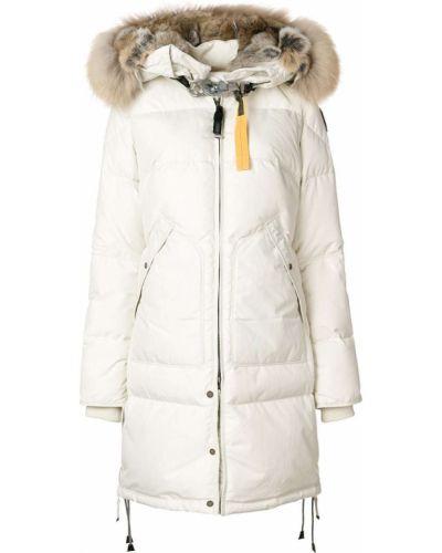 Коралловое длинное пальто с капюшоном из енота Parajumpers