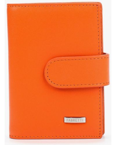 Оранжевая кожаная визитница Fabretti