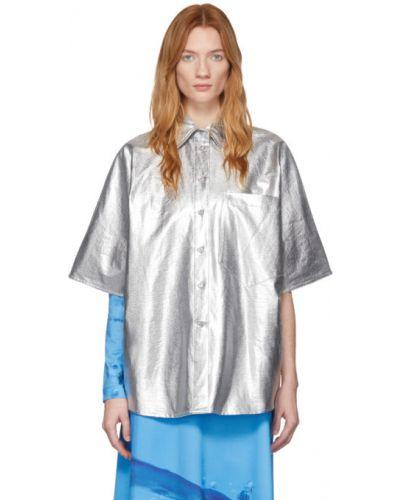 Рубашка с коротким рукавом без воротника с карманами Pushbutton