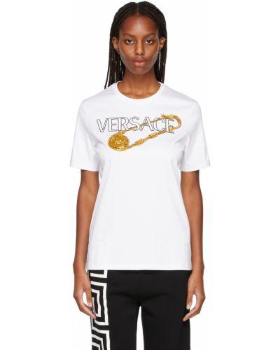 Złota broszka - biała Versace