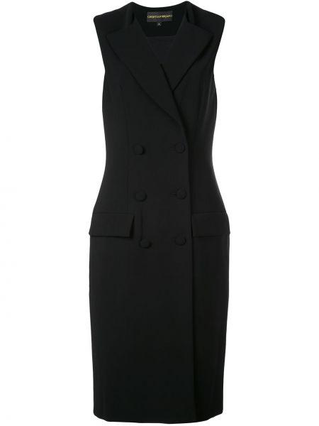Klasyczna czarna sukienka bez rękawów Christian Siriano