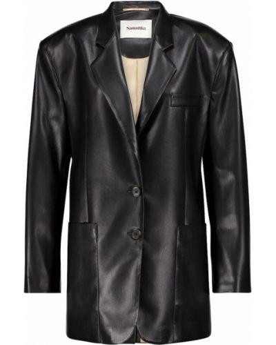 Кожаный черный пиджак Nanushka