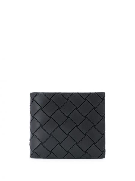 Czarny portfel z kieszeniami z prawdziwej skóry z gniazdem Bottega Veneta