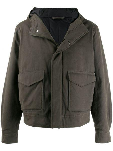 Хлопковое зеленое пальто на молнии с карманами Holland & Holland