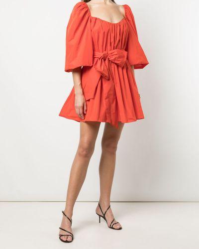 Расклешенное оранжевое платье с короткими рукавами Cinq À Sept