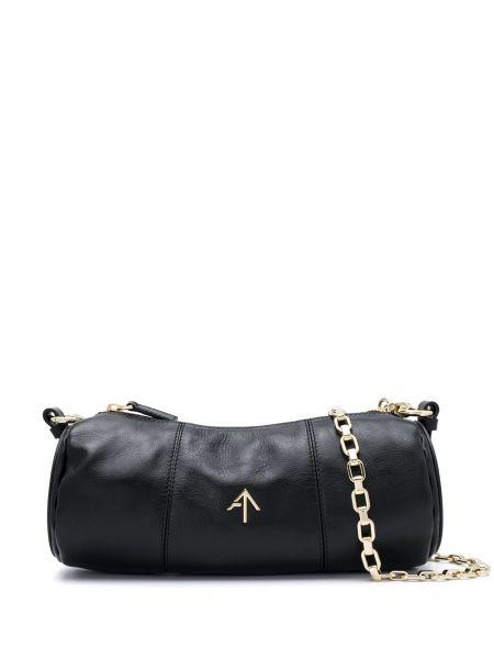 Черная сумка на цепочке металлическая на молнии с карманами Manu Atelier