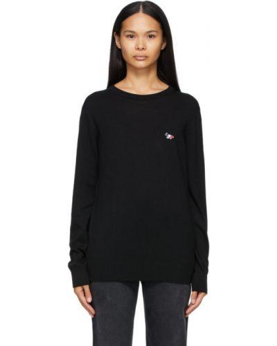 С рукавами черный шерстяной длинный свитер с воротником Maison Kitsuné