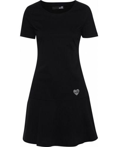 Ватное хлопковое черное платье мини Love Moschino